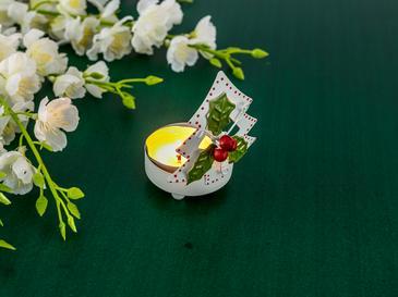 Joy Метал Дърво Свещник 6,5x6x8,5 См Бяло