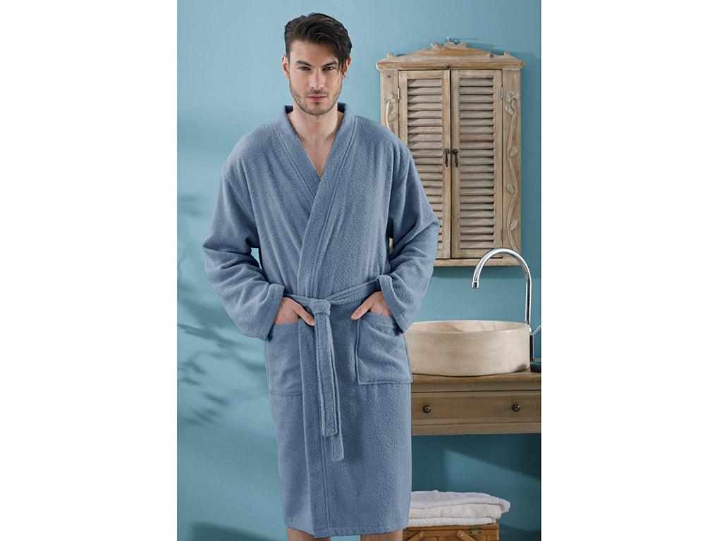 Plain Men's Bathrobe L-XL Indigo Blue