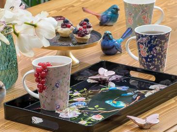 Flowers And Birds Поднос 40x24x3,5 См Черно