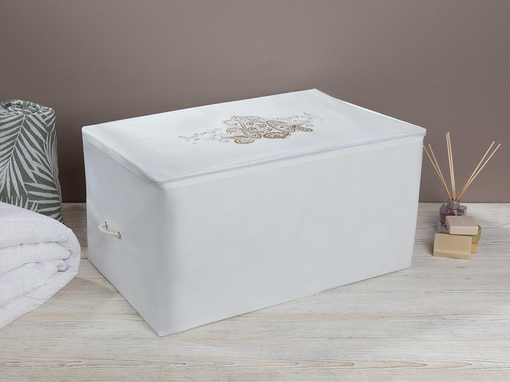 Lace Damask Storage Bag 64x41x35 Cm White