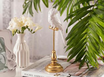 Parrot Paradise Декоративен Предмет 10,5x10,5x24,6 См Бяло