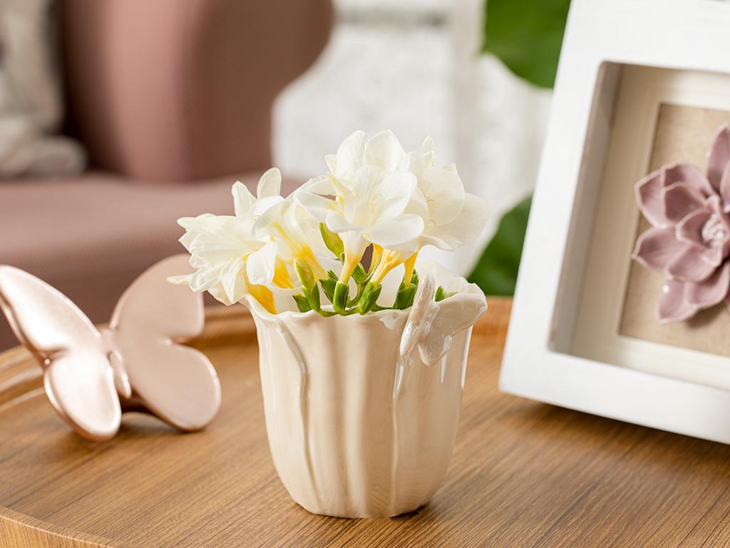 Orchids Butterfly Stoneware Flowerpot 10,3x9x9,5 Cm White