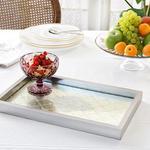 Arya Decorative Glass Tray 22x37 Cm Gold