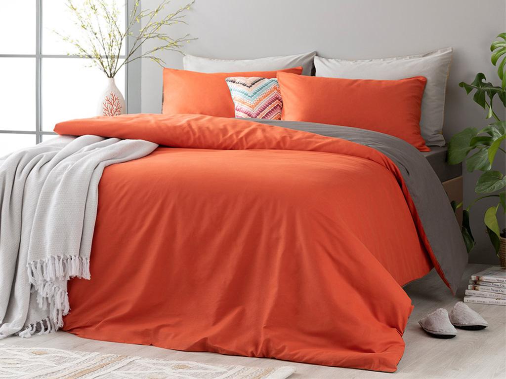 Plain Памучен Комплект Спално Бельо Единичен Размер 160x220 См Оранжево-Антрацит