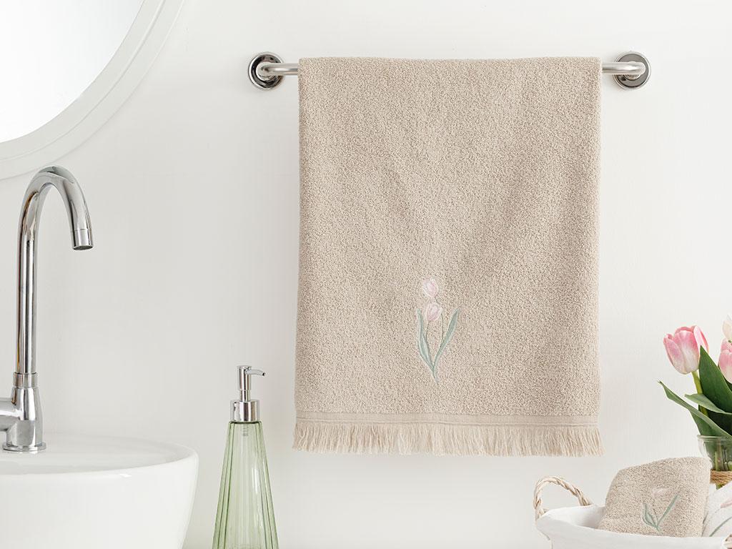 Tulip Garden Embroidered Face Towel 50x76 Cm Dark Beige