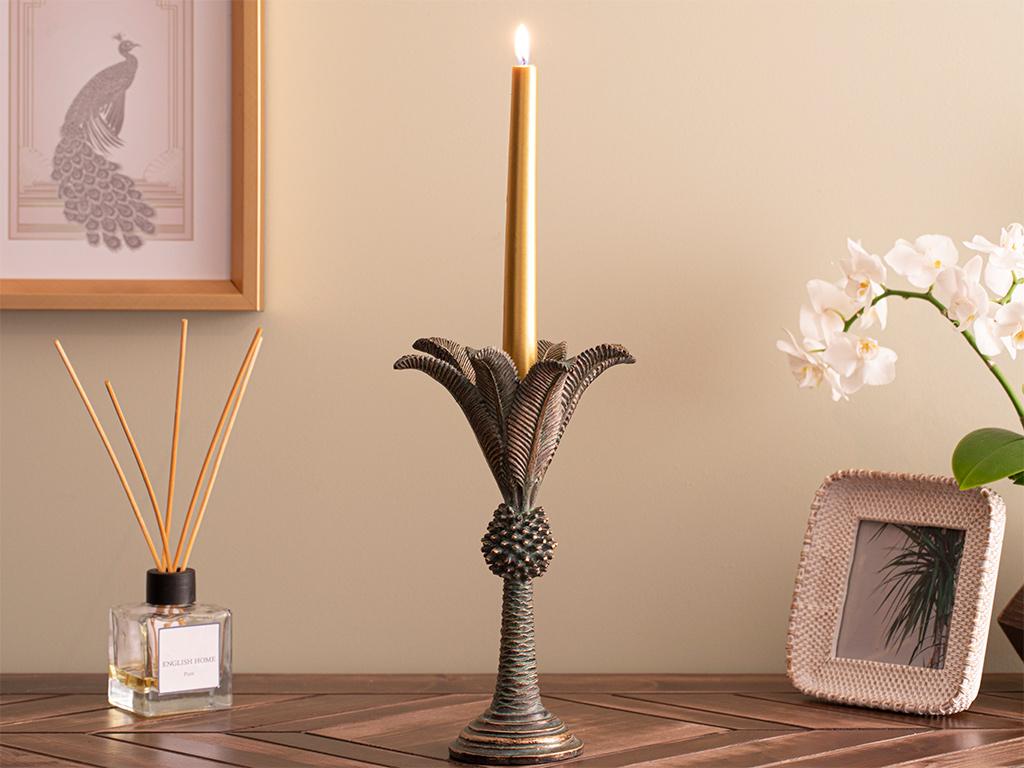 Chic Palm Candlestick 15,7x15,7x24,5 Cm Brown-Green