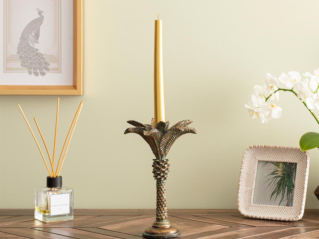 Palm Trees Candlestick 15x15x25 Cm Coffee-Green