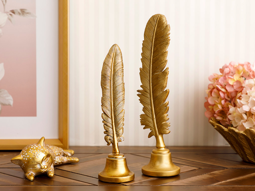 Feather Decorative Object 7,5x7x27,5 Cm Gold