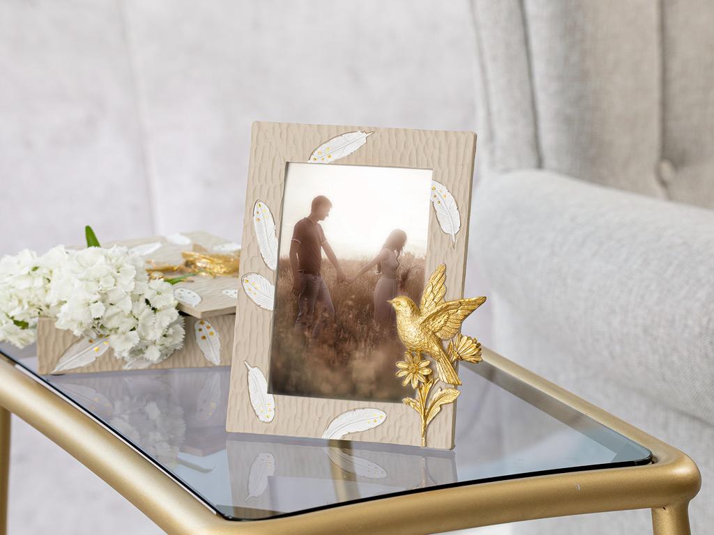 Flower Bird Frame 15,8x19,3x1,8 Cm Beige
