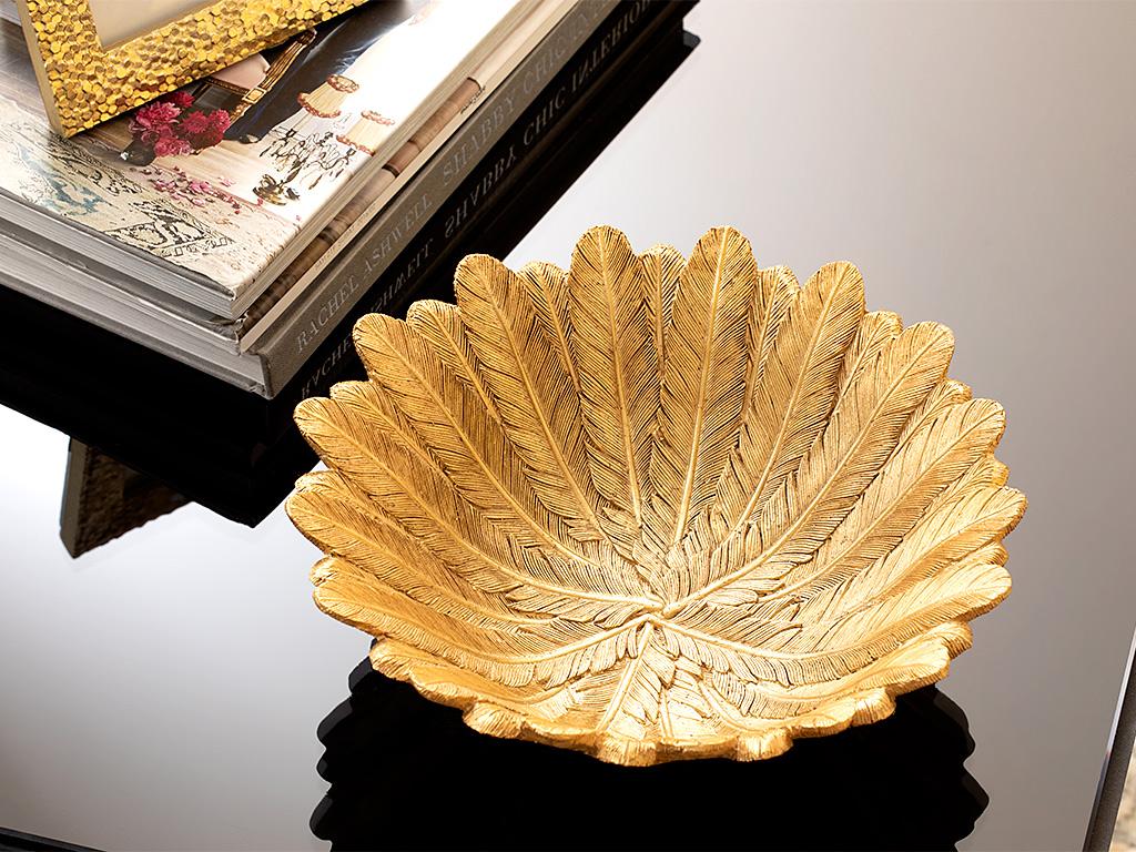 Pure Folk Decorative Plate 21,5x21,5x7,5 Cm Gold