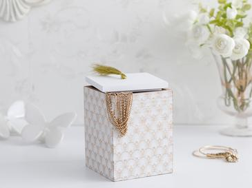 Victoria Декоративна Кутия 10x10 x13,5 См Бяло