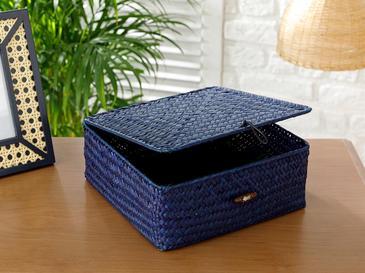 Twist Декоративна Кутия 21x21x8x21x21 См Синьо