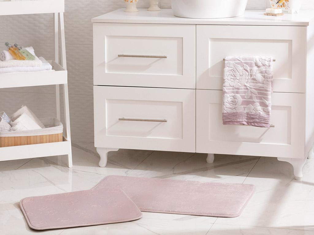 Floral Bath Mat Set 50x80 - 45x50 Cm Lilac