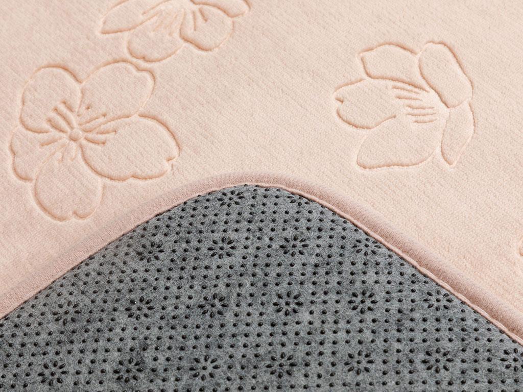 Floral Bath Mat Set 60x100 Cm - 60x50 Cm Powder