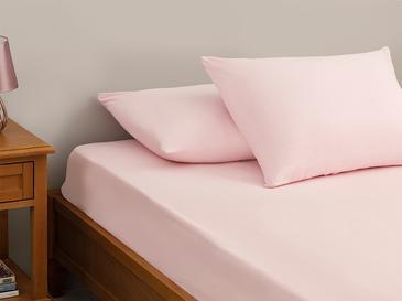 Plain Комплект Чаршафи с Ластик Двоен Размер 160x200 См Розово