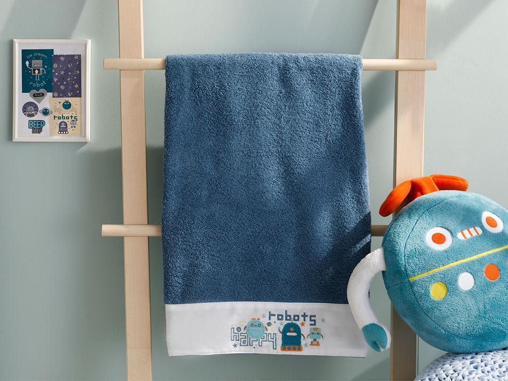 Happy Robots Cotton Baby Bath Towel 70x130 Cm Indigo