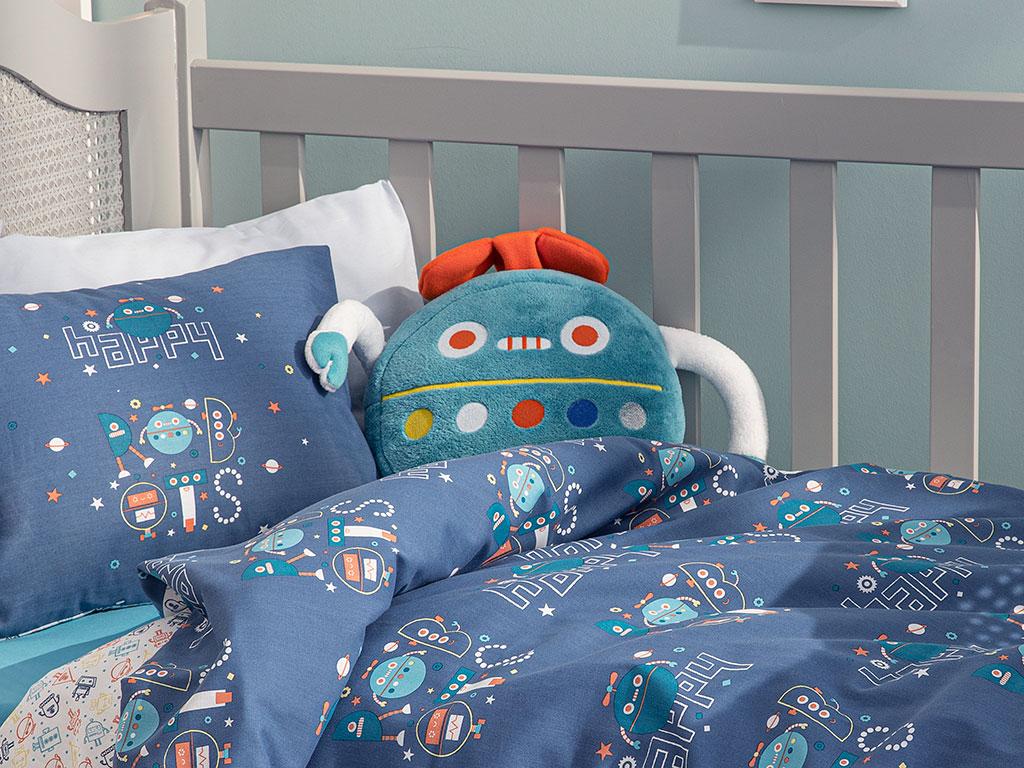 Happy Robots Decorative Pillow 32x25 Cm Green