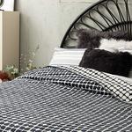 Cotton Blanket Single Size 150x200 Cm White-Navy Blue
