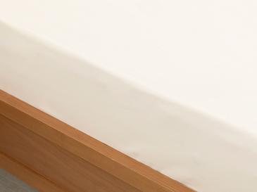 Plain Памучен Чаршаф с Ластик Единичен Размер 100x200 См Мръсно Бяло