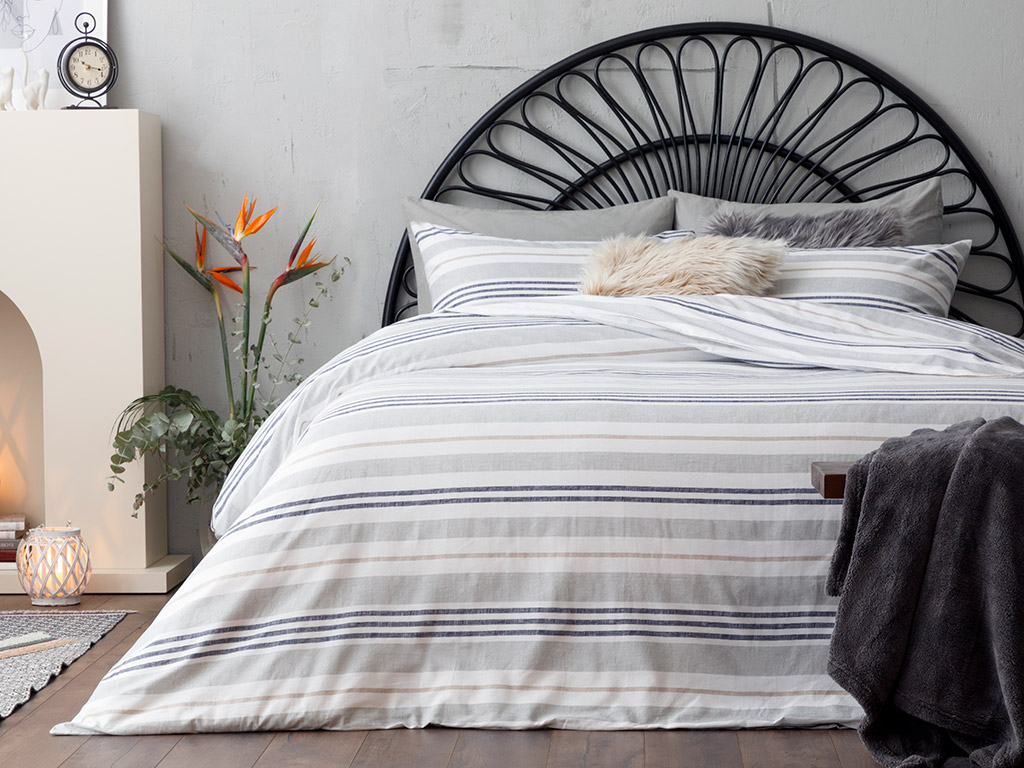 Modern Stripe Cotton Duvet Cover Set Double Size 200x220 Cm Gray