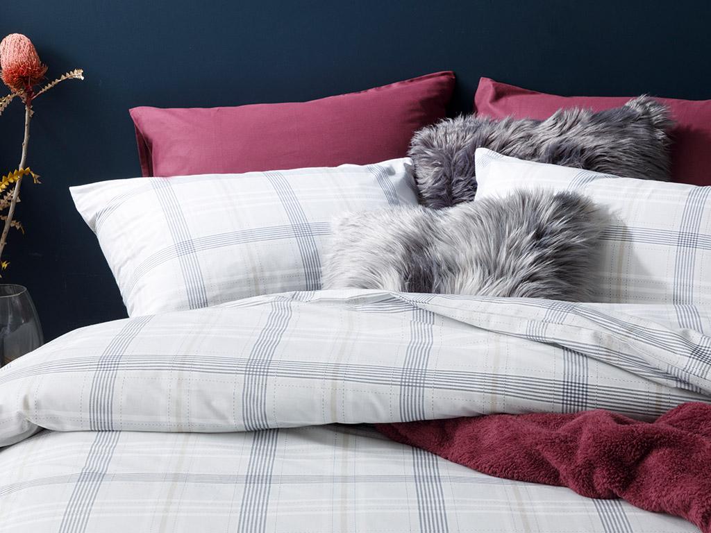 Check Natural Cotton Duvet Cover Set Double Size 200x220 Cm Gray