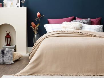 Crimped Покривка за Легло Единичен Размер 160x240 См Бежово