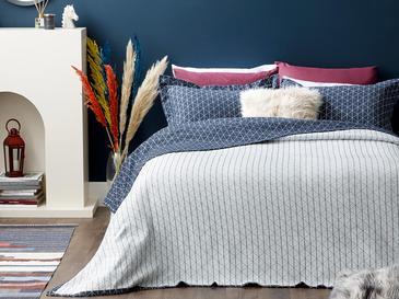 Argyle Комплект Покривало за Легло Единичен Размер 160x240 См Тъмносиньо