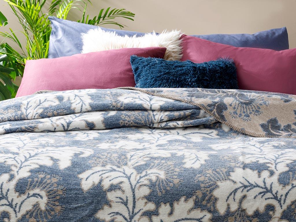 Morris Cotton Blanket Double Size 200x220 Cm Navy Blue
