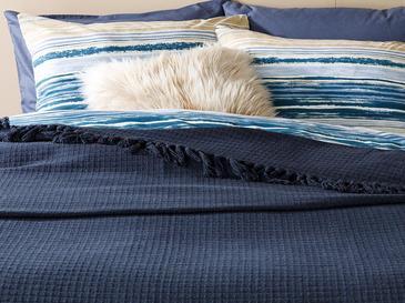 Plaid Покривка за Легло Памук Единичен Размер 160x240 См Тъмносиньо