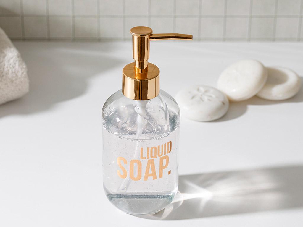 Modest Glass Liquid Soap Dispenser 7,2x18,5 Cm Rose Gold