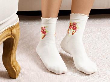 Flower Чорапи Стандарт Кремаво