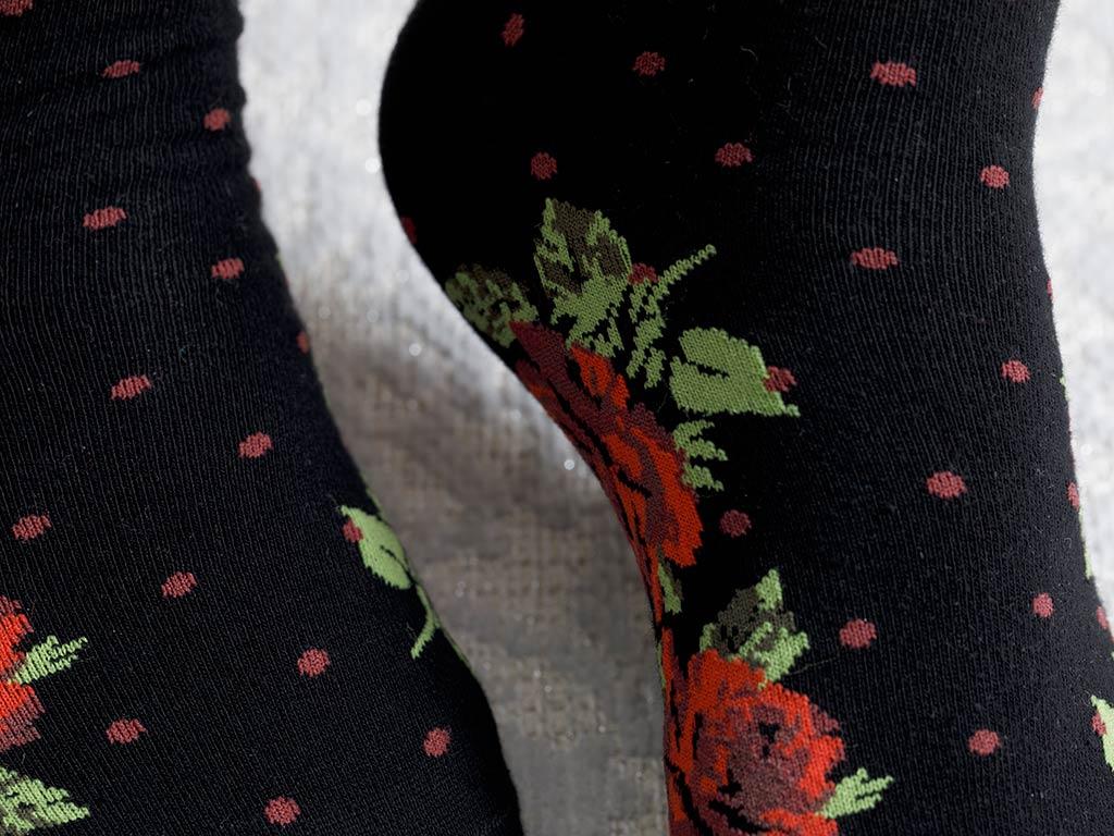 Flower Dots Cotton Socks Black
