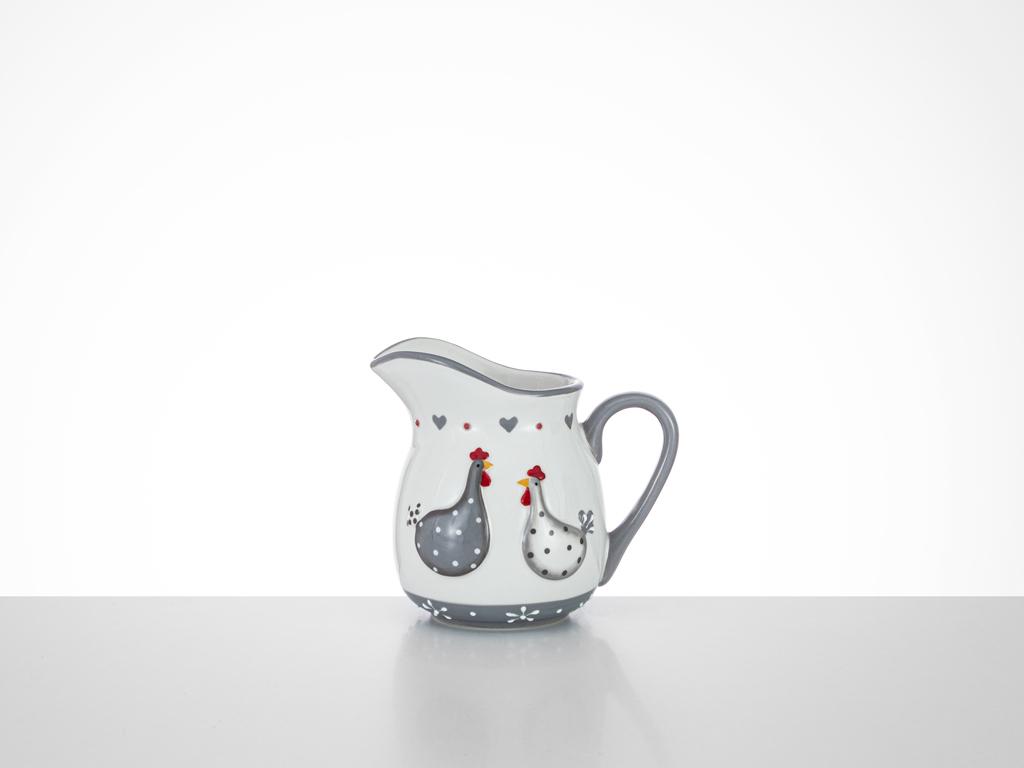 East Ceramic Cream Pitcher 13x9,5x11,5 Cm White-Gray