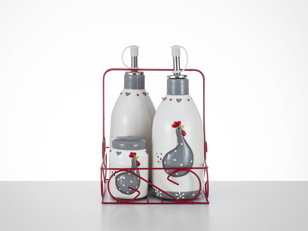East Ceramic Oil and Vinegar Bottle 7x7x18,5 5x5x7,5 Cm White-Gray