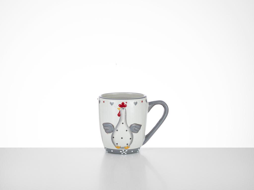 Happy Easter Ceramic Cup 12,5x8,5x10,5 Cm White-Gray