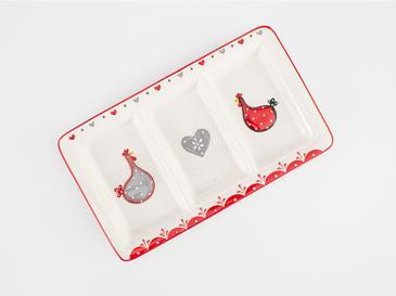 Chick Heart Купа за Ядки 30x17,5x3 См Червено-Бяло