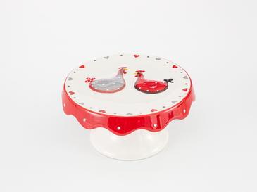 Chick Heart Поставка за Торта 16,5x16,5x8 См Червено-Бяло