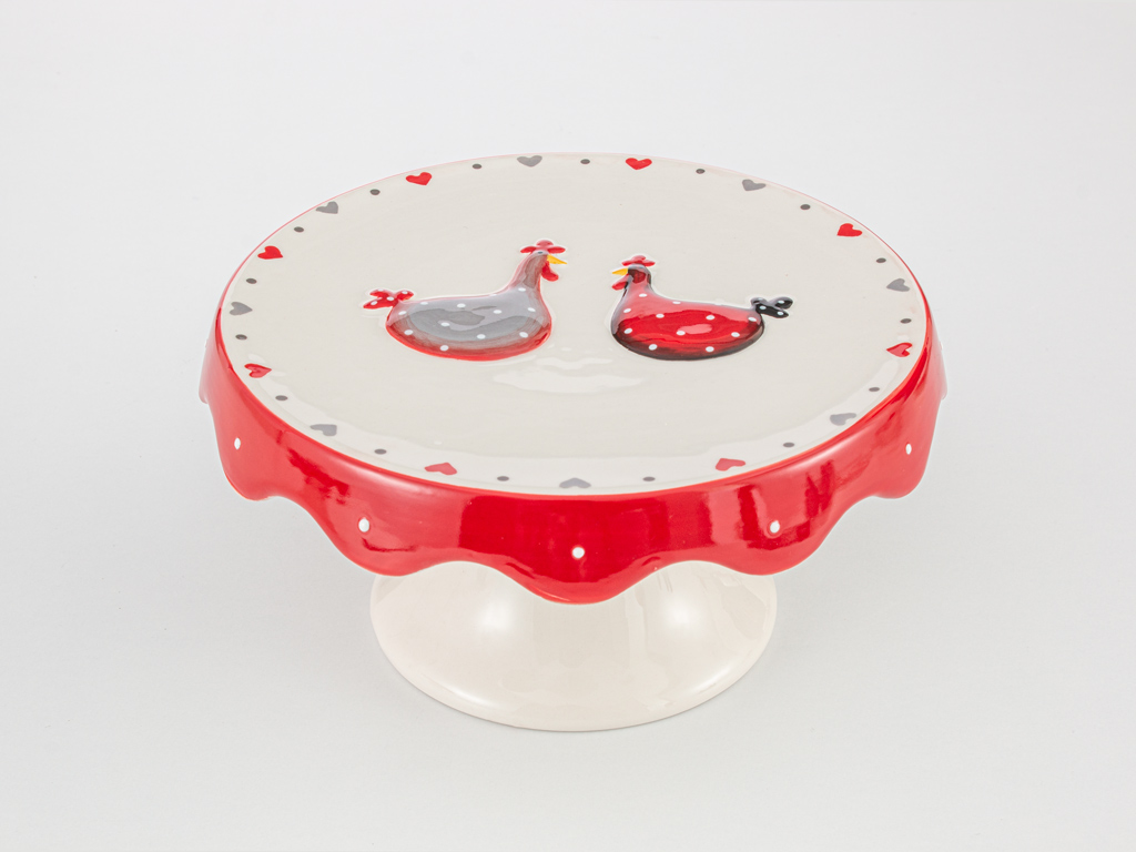 Chick Heart Ceramic Cake Stand 20x20x9,5 Red-White