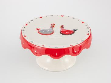 Chick Heart Поставка за Торта Керамика  20x20x9,5 См Червено-Бяло