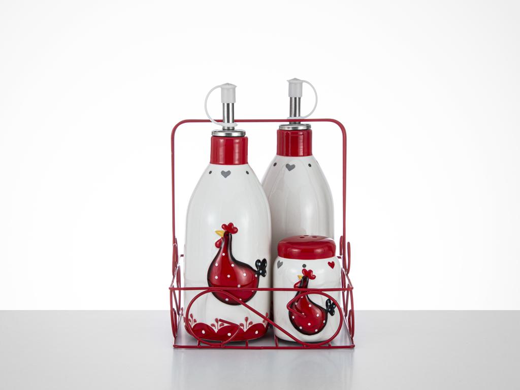 Chick Heart Ceramic Oil and Vinegar Bottle 7x7x18,5 5x5x7,5 Cm Red-White