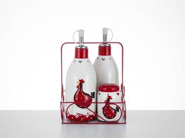 Chick Комплект Бутилки за Олио и Оцет 7x7x18,5 5x5x7,5 См Червено-Бяло