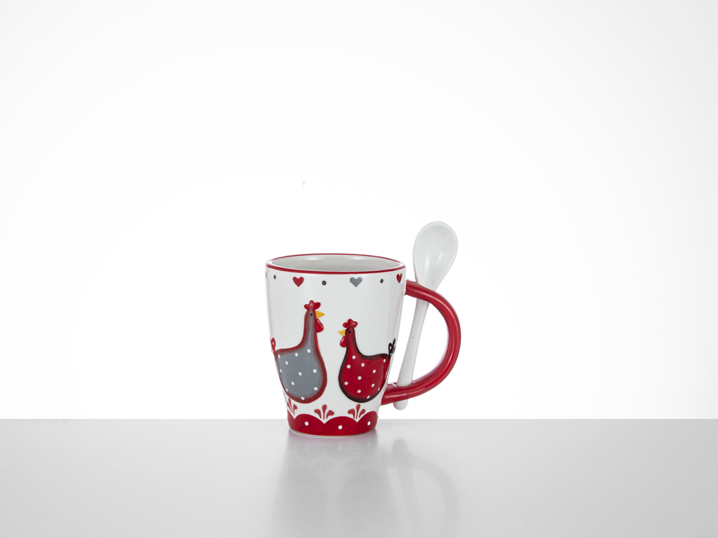 Chick Heart Ceramic Cup 12,5x8,5x10,5 Cm Red-White