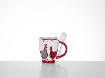 Chick Heart Чаша 12,5x8,5x10,5 См Червено-Бяло