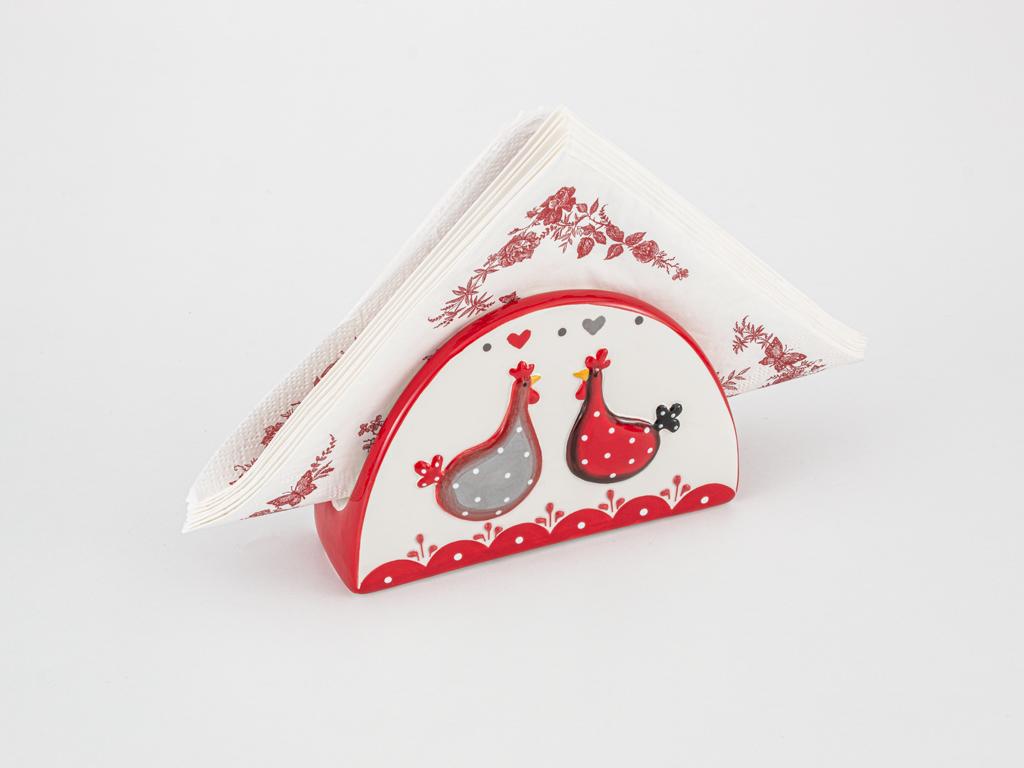 Chick Heart Ceramic Napkin Holder 14x4,5x9 Cm Red-White