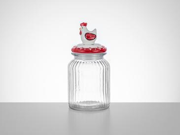 Chick Heart Буркан Стъкло 11x11x21 См Червено-Бяло