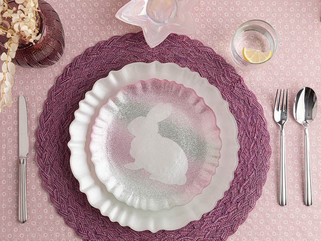 Rabbit Glass Cake Plate 21 Cm Pink