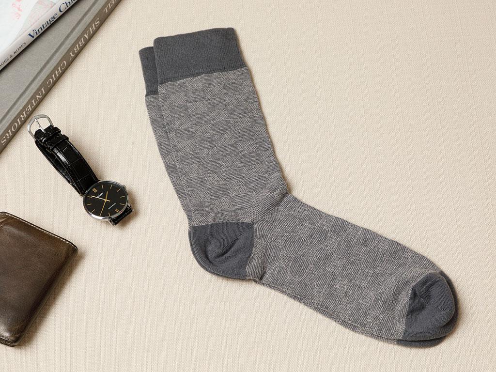 Square Cotton Men's Socks Anthracite