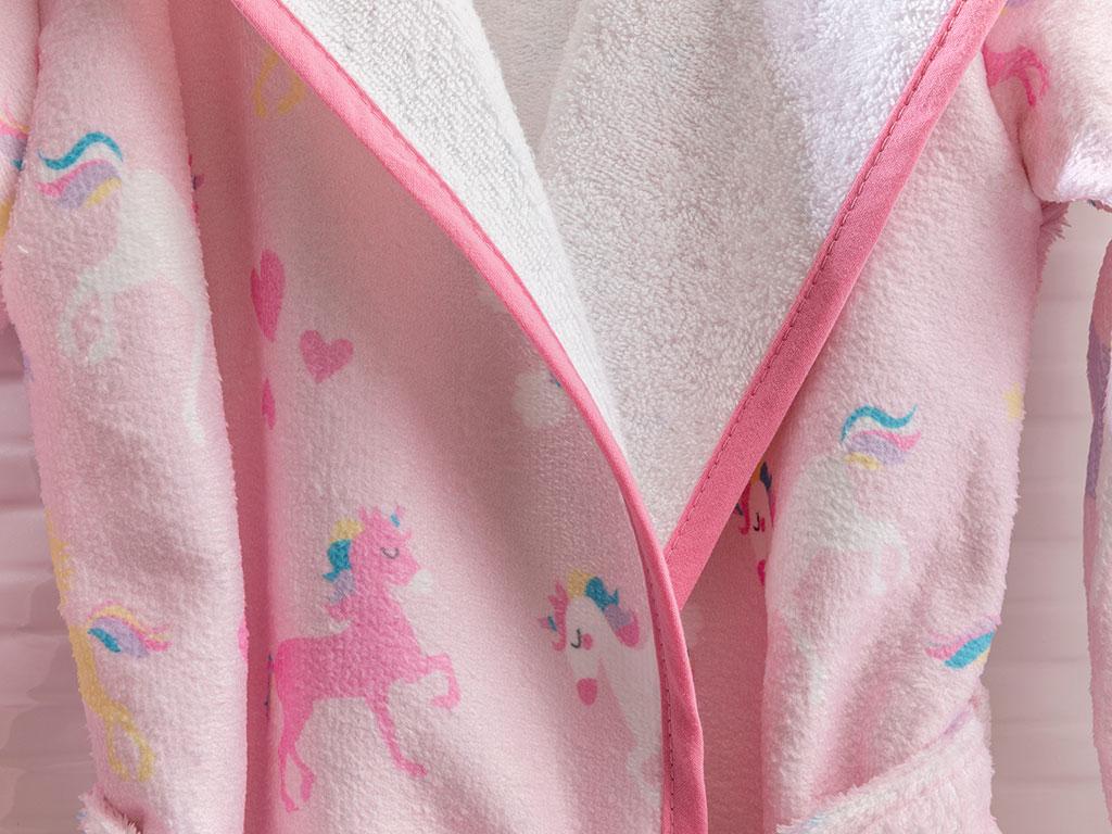 Unicorns Velvet Kids Bathrobe 4-5 Age Pink