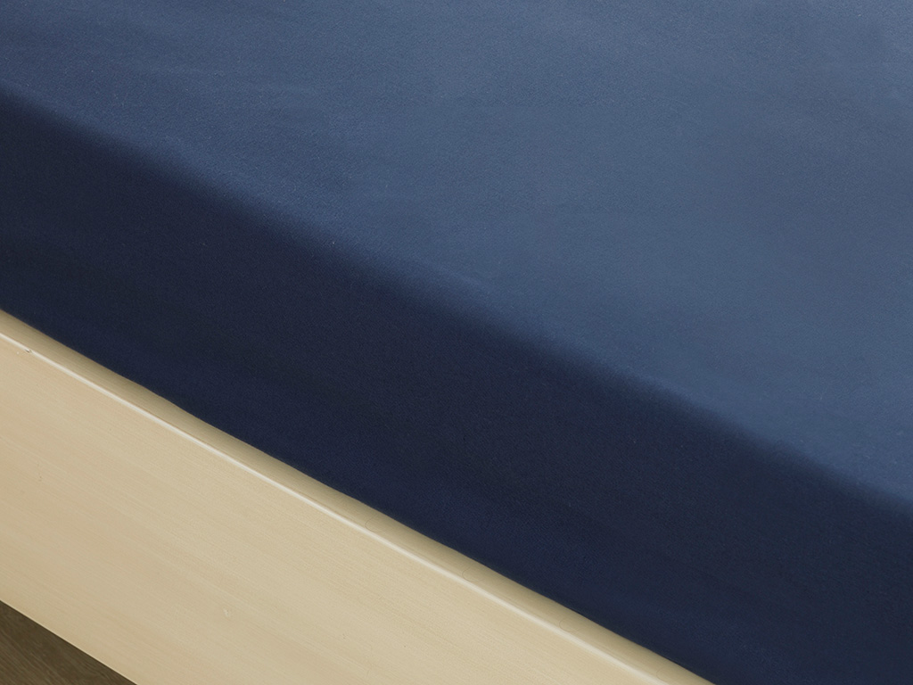 Plain Cotton Fitted Bed Sheet Double Size 160x200 Cm Night Blue
