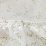 Leafy Cotton Fitted Bed Sheet Single Size 100x200 Cm Light Green